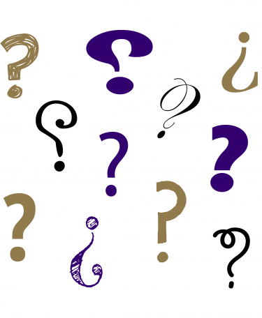Graphic of many question marks.