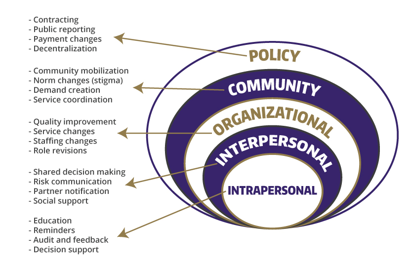 Examples of implementation strategies across the socialecological spectrum