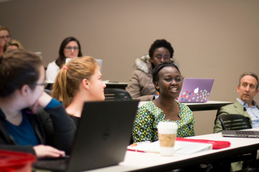 Students in a global health classroom.