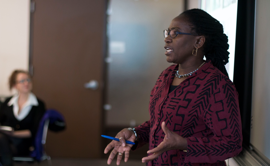 Dr. Nelly Mugo speaking to global health students.