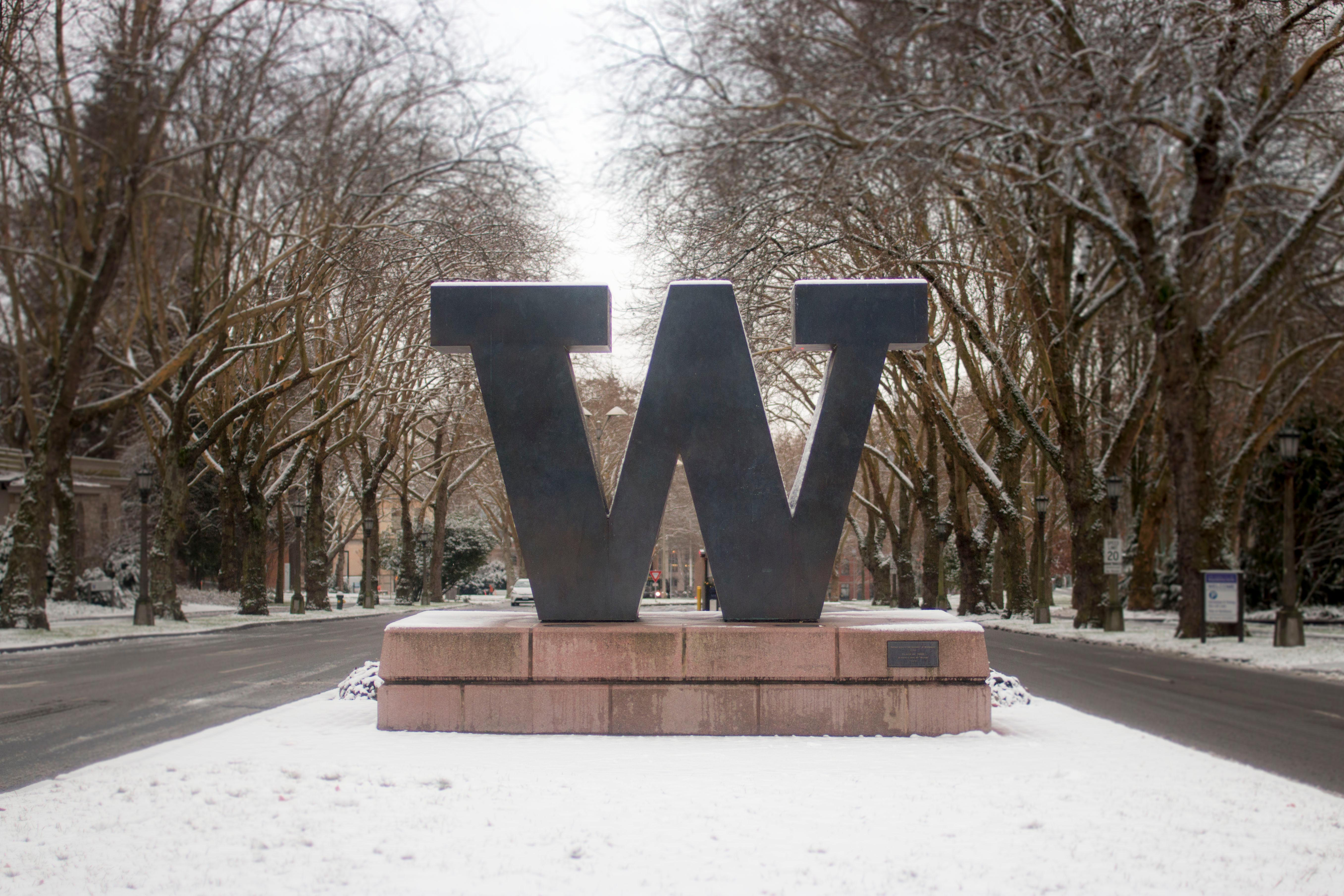 Snowy entrance to UW Seattle campus