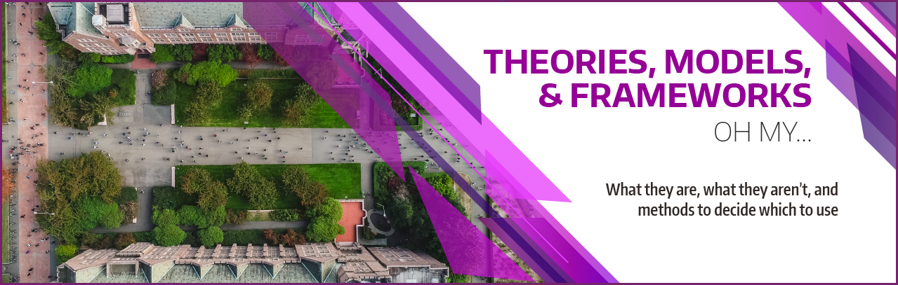 Theories, models, and frameworks…oh my! What they are, what they aren't, and methods to decide which to use.