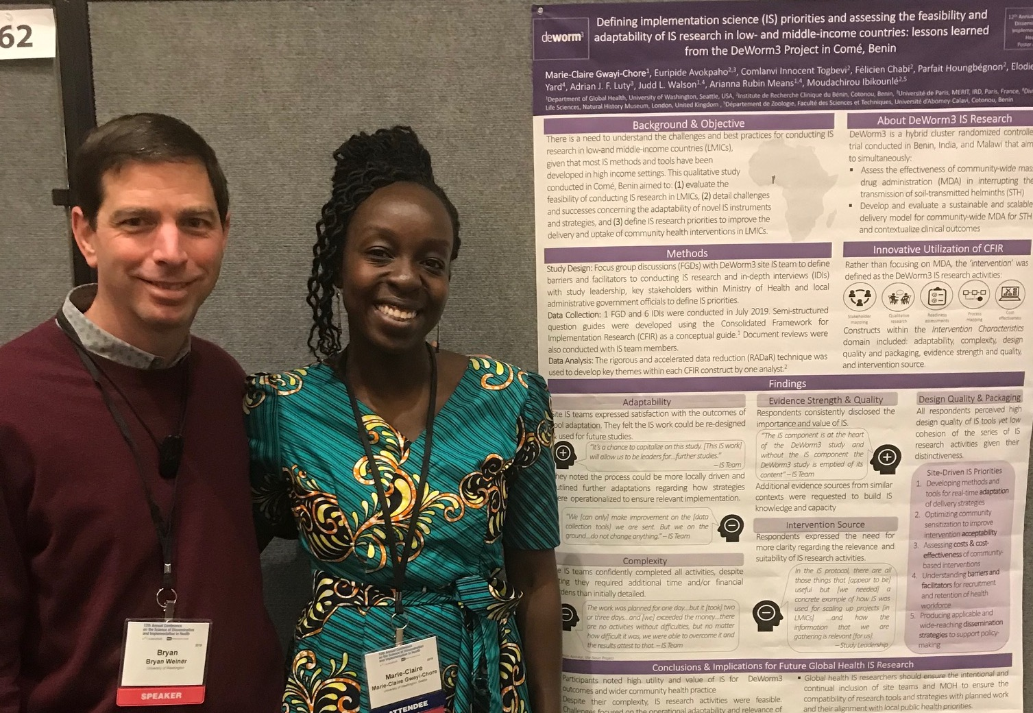 Bryan Weiner and Claire Gwayi-Chore standing in front of scientific poster at 2019 D&I Conference