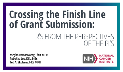 Crossing the finish line of grant submission: R's from the perspectives of the PI's